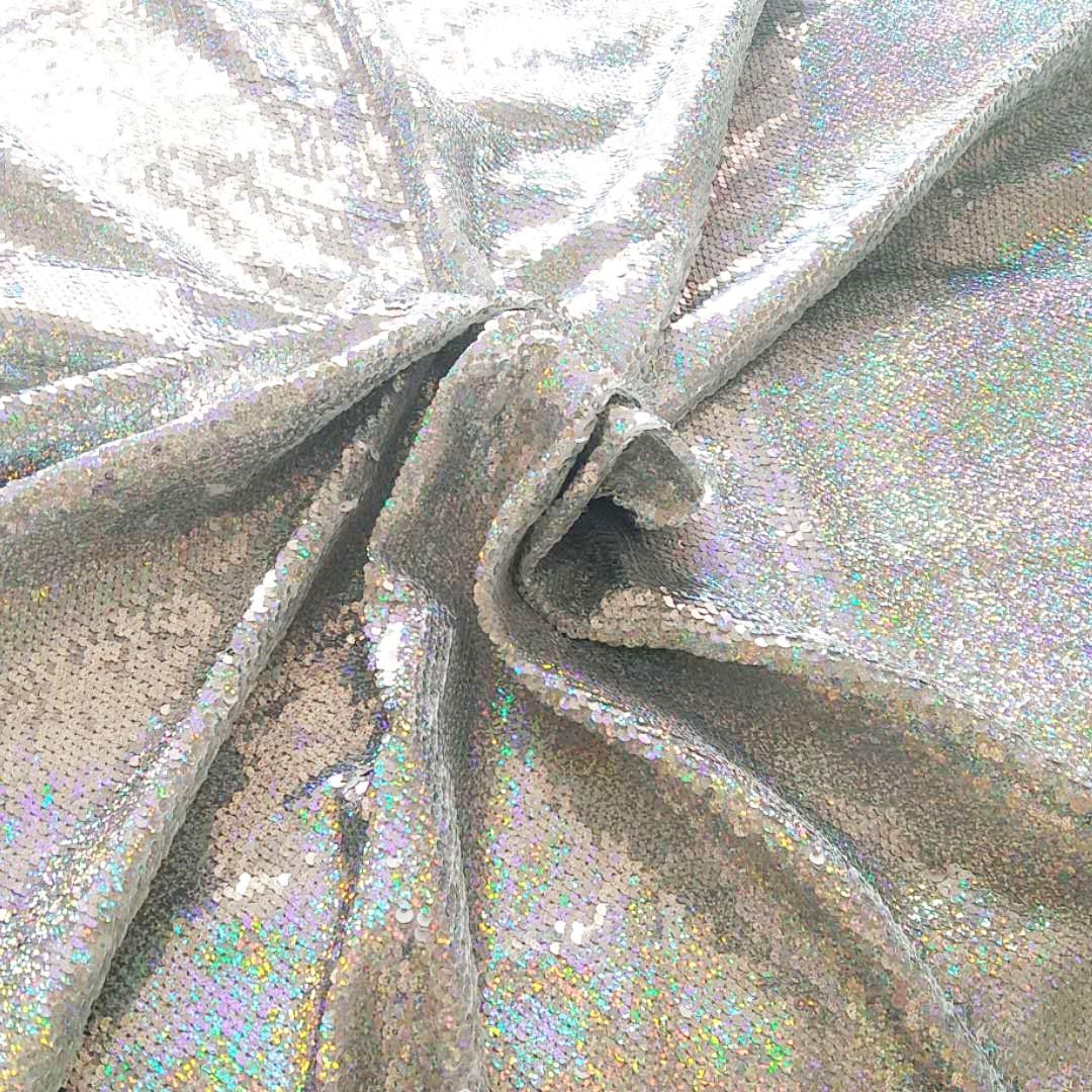 Rainbow silver Holographic Iridescent Fabric Iridescent Holographic Fabric