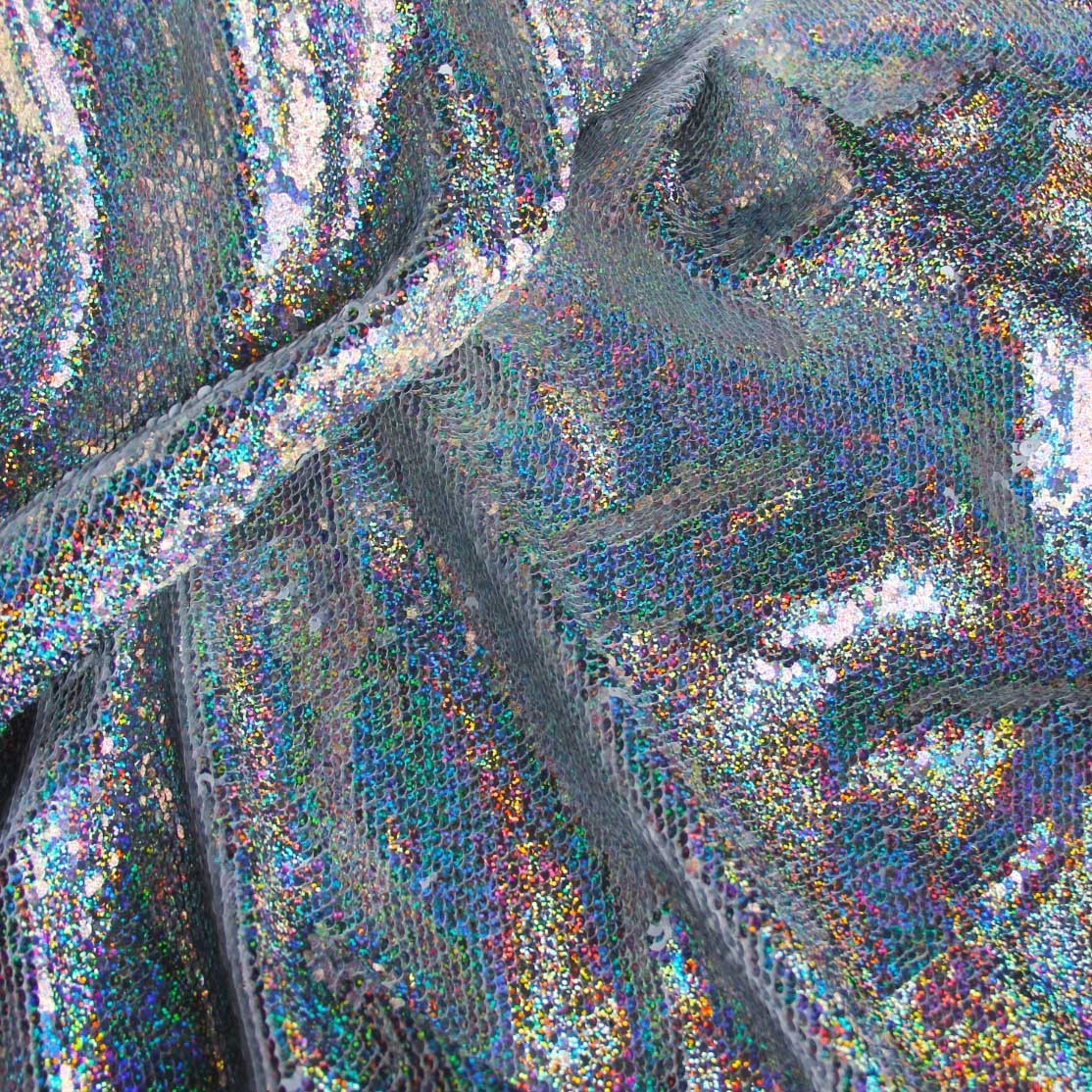 Rainbow Silver Holographic Iridescent Fabric