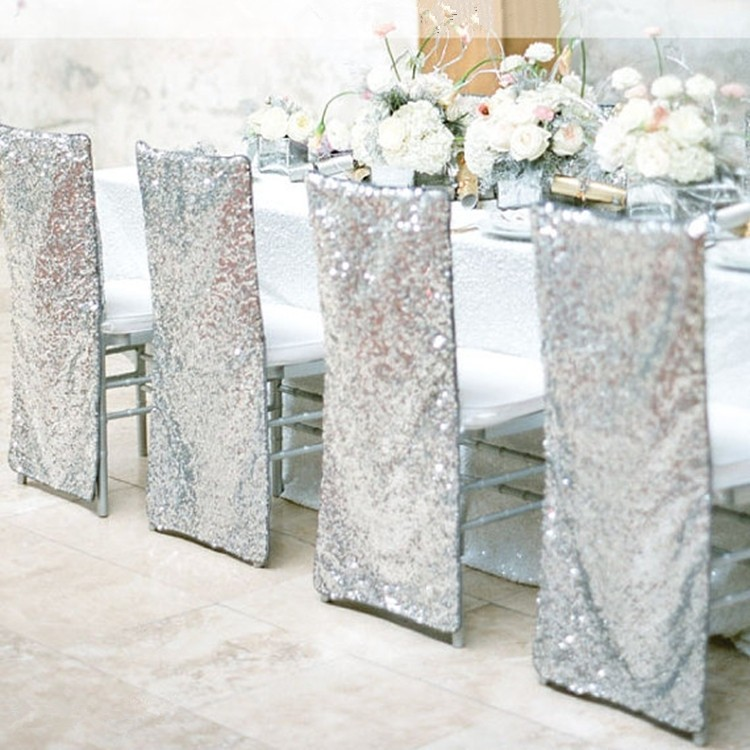 Sparkle Sequin Silver Tablecloth
