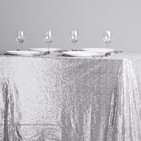 Sparkle Sequin Silver Tablecloth