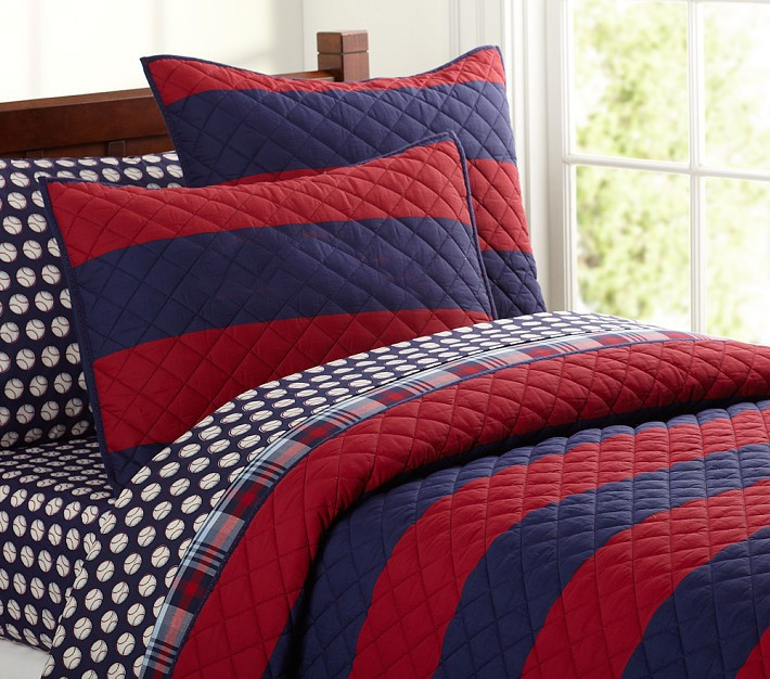Rugby Stripe Quilted Bedding