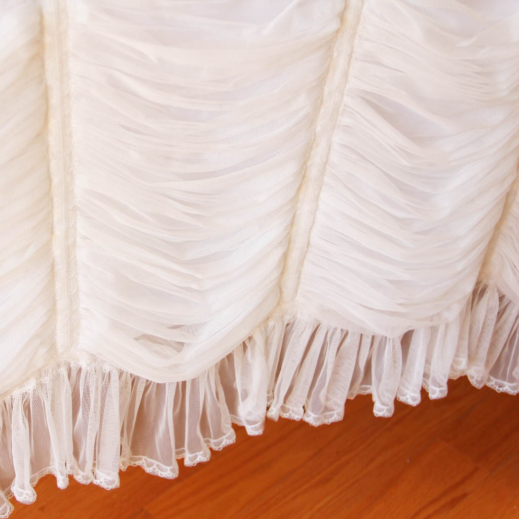 Luxury White Ruffled Fitted Tablecloth. 44% Off