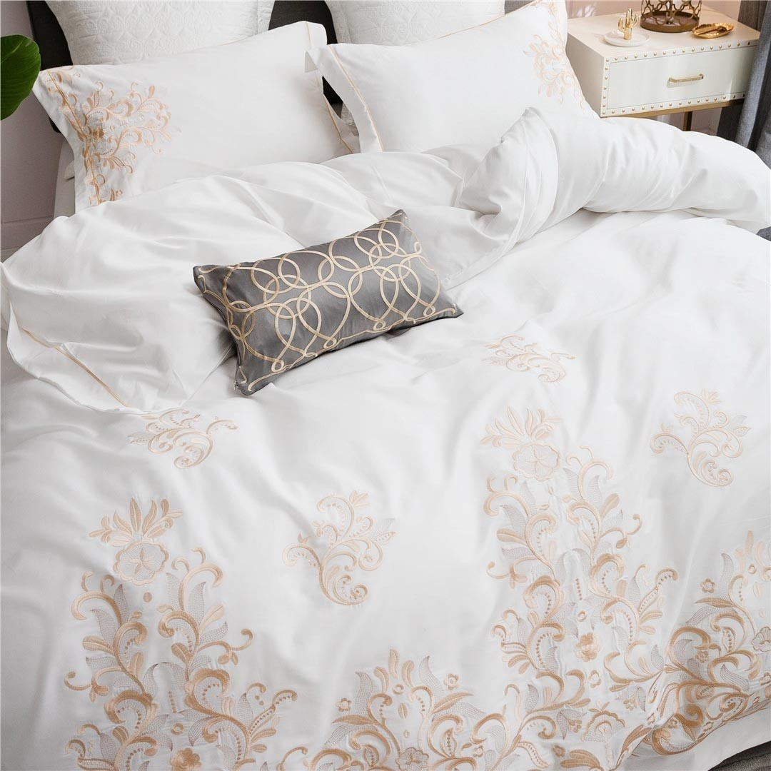 White Gold Embroidery Egyptian Cotton Duvet Cover Set