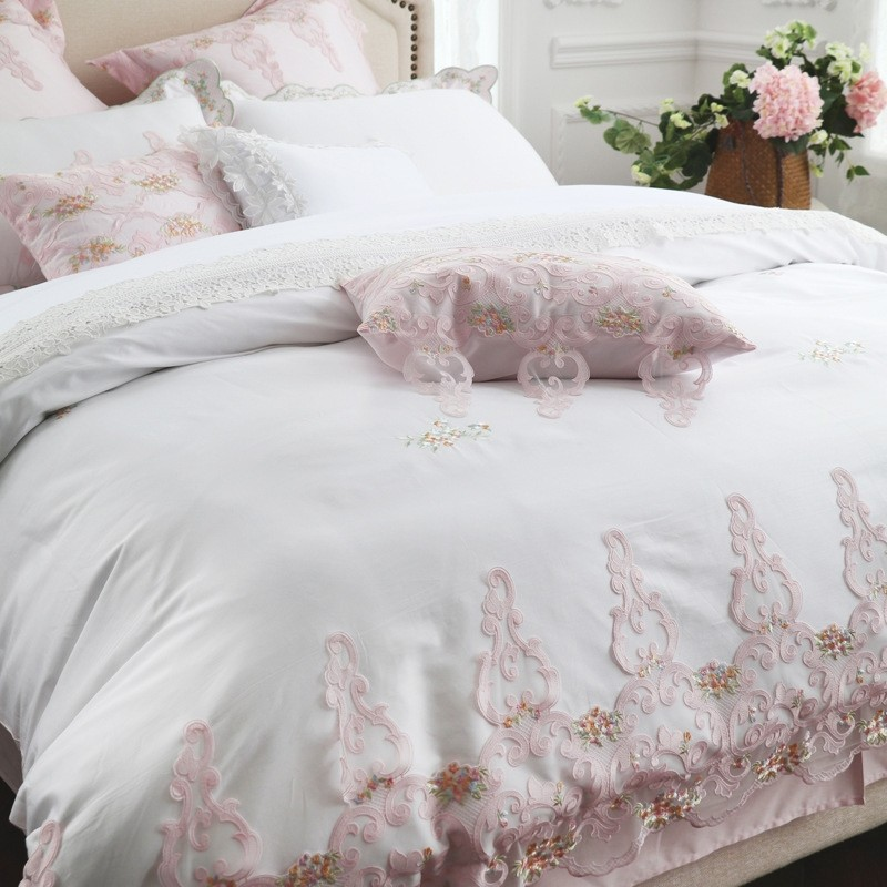 White Pink Embroidery Egyptian Cotton Duvet Cover Set