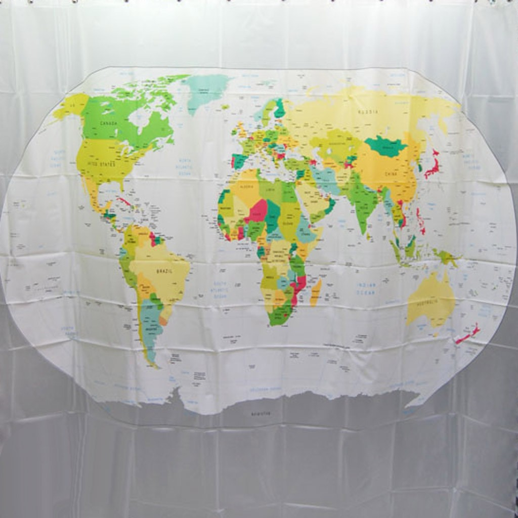 World Map Shower Curtain EVA