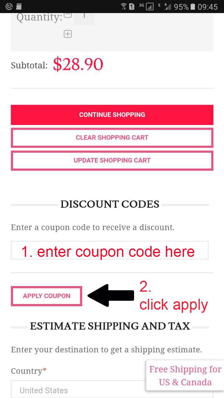 Enter coupon code instructions
